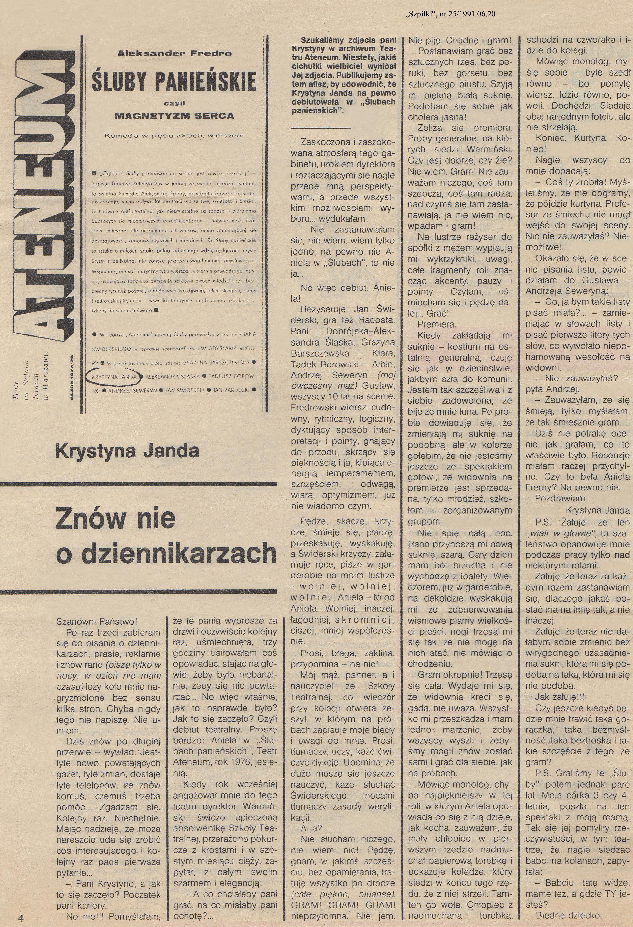 Znów Nie O Dziennikarzach Krystyna Janda