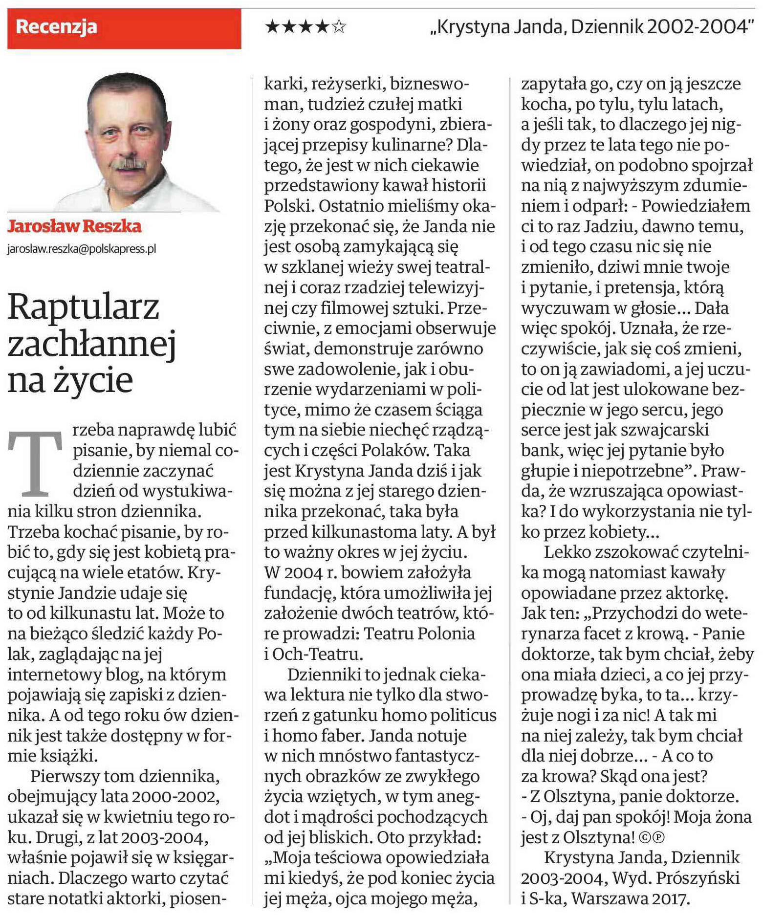 Raptularz Zachlannej Na Zycie Krystyna Janda Dziennik 2003 2004 Krystyna Janda